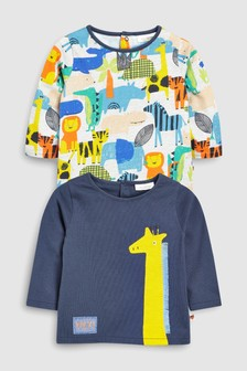 Pack de dos camisetas jirafa/estampado (0 meses-2 años)