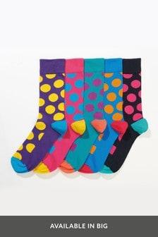 Farebné ponožky s veľkými bodkami, 5 párov