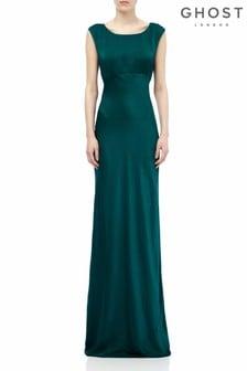 Зеленое атласное платье Ghost London Salma