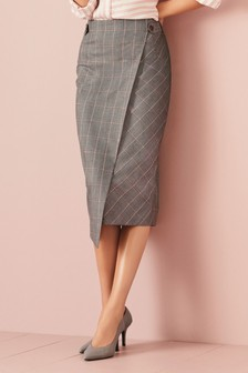 Windowpane Check Pencil Skirt