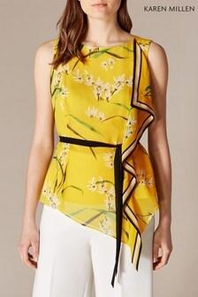 Karen Millen Yellow Oriental Floral Scarf Top