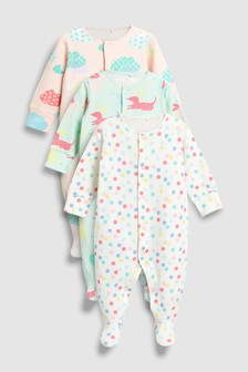 Dog And Balloon Sleepsuits Three Pack (0mths-2yrs)