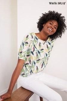 White Stuff Yellow Leaf Print Tuck T-Shirt