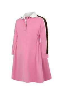 Girls Pink Logo Trim Dress