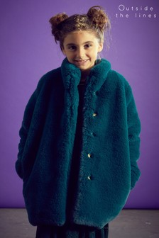Outside The Line Green Green Fur Coat