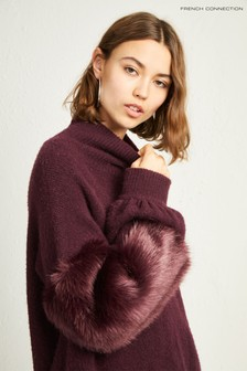 French Connection Purple Faux Fur Jumper