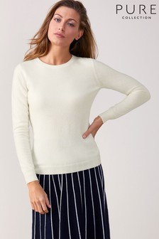 Pure Collection White Cashmere Slim Fit Crew Neck Sweater