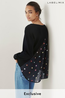 Next/Mix Merino Knit With Polka Dot Back