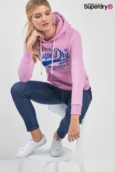 Superdry Pink Sheen Logo Hoody