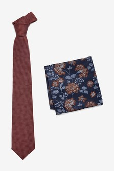 Signature Tie With Paisley Pocket Square Set