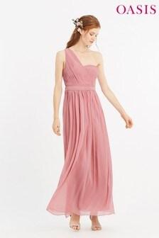 Oasis Pink One Shoulder Maxi Dress