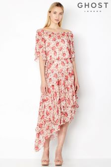 Ghost London Abstract Floral Dahlia Georgette Dress