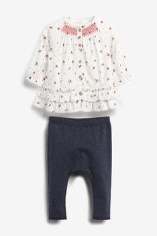 Bluza z drobnim potiskom in legice v kompletu (0 mesecev–2 let)