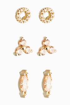 18 Carat Gold Plated Sparkle Stud Earrings Three Pack