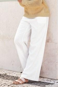 b24451eff2 Linen Blend Wide Leg Trousers