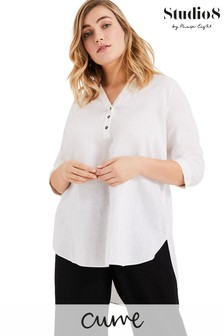 Studio 8 White Haze Linen Longline Shirt