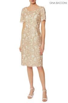 Gina Bacconi Beige Liliana Gold Corded Embroidery Dress ac6445eaccf