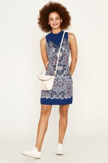 Oasis Blue Paisley Placement Viscose Shift Dress