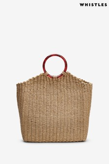Whistles Eastway Resin Handle Straw Bag