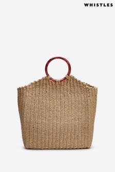 Whistles Eastway Resin Handle Straw Bag
