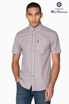 Ben Sherman Blue Short Sleeve Check Shirt
