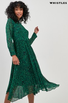 Whistles Green Jungle Cat Pleated Dress