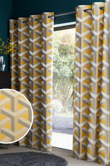 Optical Geo Jacquard Eyelet Curtains