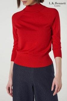 L.K.Bennett Red Brett Knitted Top