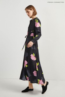 French Connection Black Floral Midi Shirt Dress