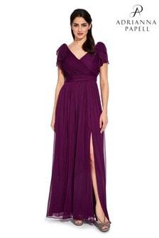 Fioletowa, asymetryczna sukienka drapowana Adrianna Papell z kokardą