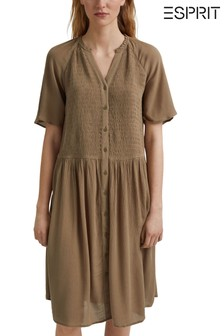 Esprit Khaki Smocked Shirt Dress