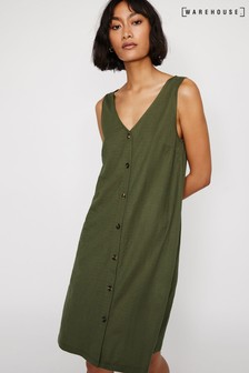 Warehouse Green Pique Button Swing Dress
