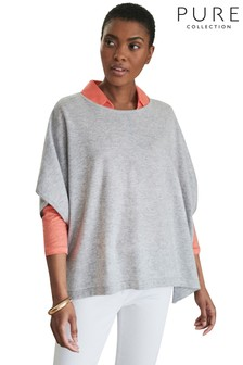 Pure Collection Grey Cashmere Poncho Sweater