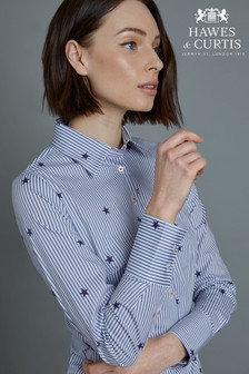 c4b0ca6c Hawes & Curtis Blue Stripes With Stars Print Fitted Shirt