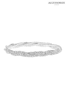 Accessorize Clear Twisted Sparkle Chain Stretch Bracelet