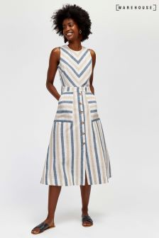 Warehouse Neutral Stripe Midi Dress