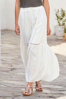 Lace Trim Maxi Skirt