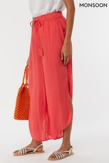 Monsoon Ladies Orange Alani Coral Plain Trouser