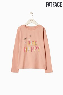 FatFace Pink Bee Happy Graphic Tee
