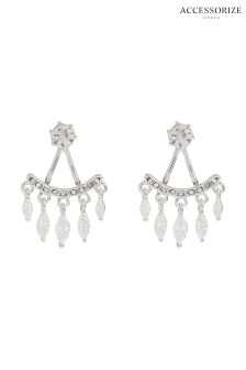 Accessorize Silver Tone Luisa Sparkle Earring Jacket