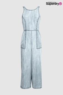 Superdry Blue Culotte Jumpsuit