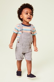 Linen Blend Dungarees With T-Shirt (3mths-7yrs)