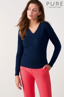 Pure Collection Blue Cashmere Slim Fit V-Neck Sweater