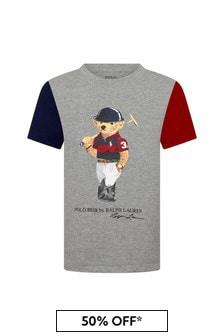 Ralph Lauren Kids Boys Grey Cotton T-Shirt
