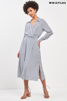 Whistles Grey Stripe Shirt Dress