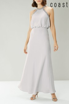 Coast Silver Meghan Pearl Trim Maxi Dress