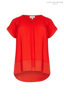 Live Unlimited Red Morocain Blouse With Chiffon Hem