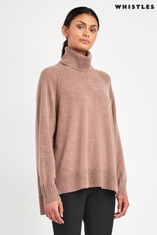 Whistles Camel Cashmere Roll Neck Knit Jumper