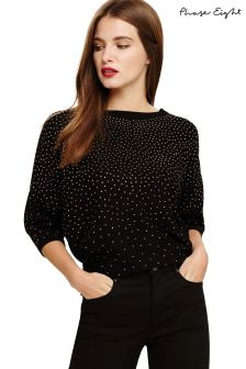 Phase Eight Black Becca Scattered Stud Knitted Top