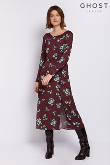 Ghost London Brown Esme Printed Crepe Dress